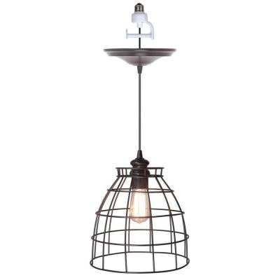 1-Light Brushed Bronze Instant Pendant Conversion Kit and Cage Shade