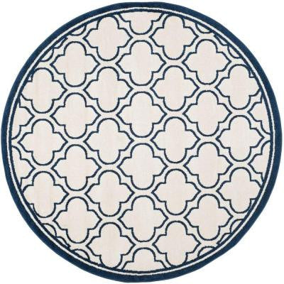 Amherst Ivory/Navy 7 ft. x 7 ft. Round Indoor/Outdoor Area Rug