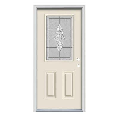 36 in. x 80 in. Langford 1/2 Lite Primed Premium Steel Prehung Front Door with Brickmould