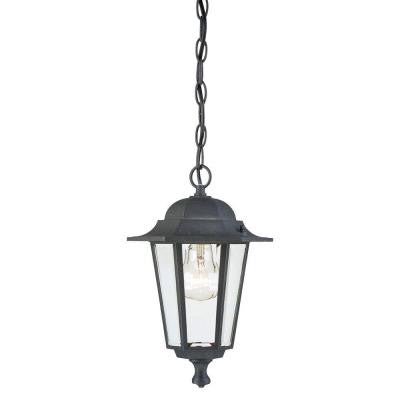 1-Light Textured Black on Cast Aluminum Exterior Pendant with Clear Glass Panels