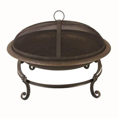 29 in. Casting Leg Steel Fire Pit in Aged Copper
