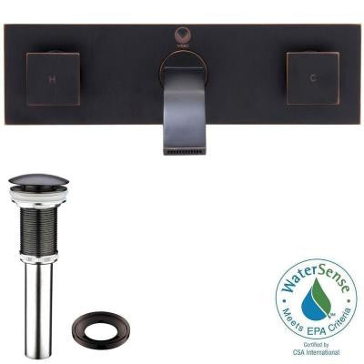 Wall-Mount 2-Handle Bathroom Vessel Faucet in Antique Rubbed Bronze