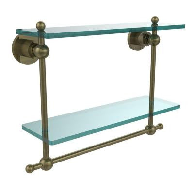 Astor Place Collection 16 in. W x 16 in. L 2-Tiered Glass Shelf with Integrated Towel Bar in Antique Brass