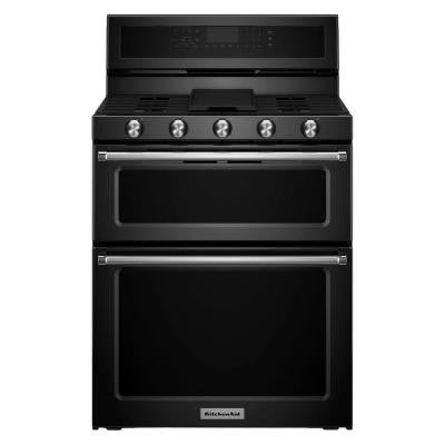 30 in. 6.0 cu. ft. Double Oven Gas Range with Self-Cleaning Convection Oven in Black