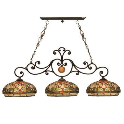 Briar Dragonfly 3-Light Antique Golden Sand Ceiling Island Fixture