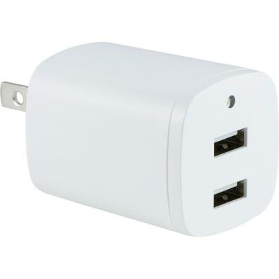AC to Dual Port USB 2.1-Amp Adapter with Folding Prongs - White