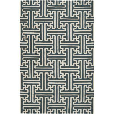 Aaru Teal 9 ft. x 13 ft. Indoor Area Rug
