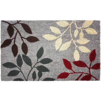 Natural Ferns 18 in. x 30 in. Vinyl Back Coco Door Mat
