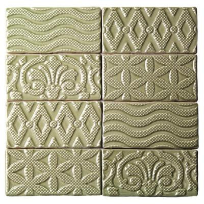 Catalina Deco Kale 3 in. x 6 in. x 8 mm Ceramic Floor and Wall Subway Tile (8 Tiles Per Unit)