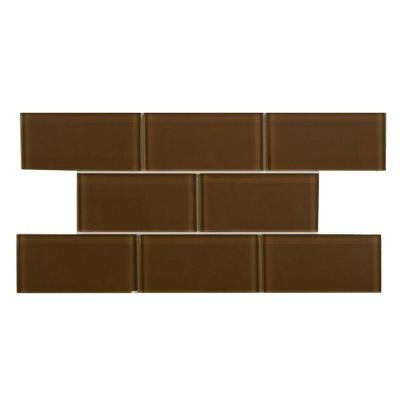Tessera Subway Earth 3 in. x 6 in. x 8 mm Glass Wall Tile (1 sq. ft. / pack)
