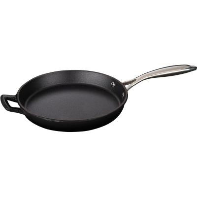 10 in. Cast Iron Round Fry Pan with Enamel Finish in Black