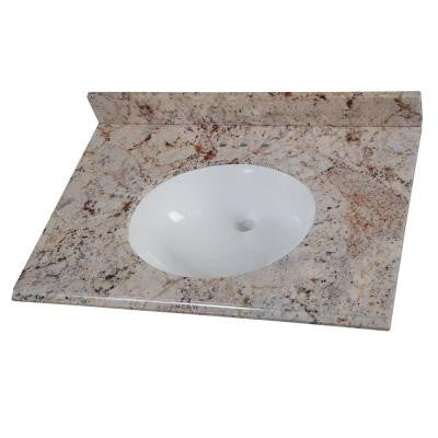 31 in. Stone Effects Vanity Top in Rustic Gold with White Basin