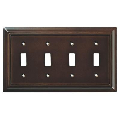 Architectural Wood 4-Gang Toggle Wall Plate - Espresso