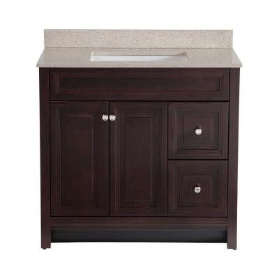 Brinkhill 36 in. Vanity in Chocolate with Colorpoint Vanity Top in Maui
