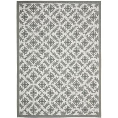 Courtyard Light Grey/Anthracite 8 ft. x 11 ft. Indoor/Outdoor Area Rug