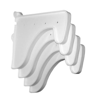 12 in. x 10 in. White End Brackets (Set of 4) for Rod & Shelf (for mounting to back wall/connecting)