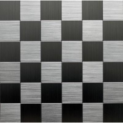 12 in. x 12 in. Peel and Stick Brushed Stainless Metal Wall Tile