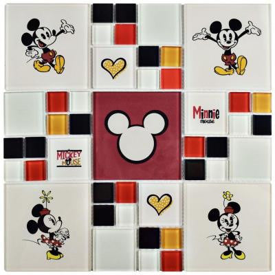 Mickey and Minnie Multi 11-3/4 in. x 11-3/4 in. x 5 mm Glass Mosaic Tile