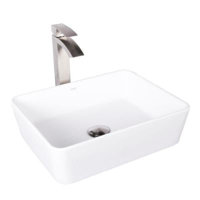 Sirena Matte Stone Vessel Sink in White with Duris Bathroom Vessel Faucet in Brushed Nickel