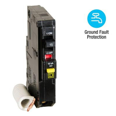 QO Qwik-Gard 15 Amp Single-Pole GFCI Circuit Breaker