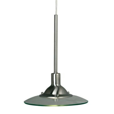 1-Light Brushed Steel Linear-Track Hanging Pendant