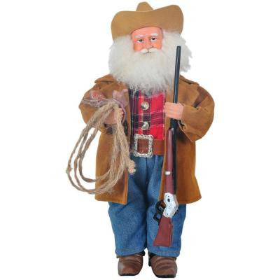 15 in. Santa Watching Over the Herd with a Rope and Saddle