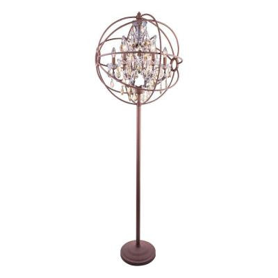 Geneva 71.5 in. Rustic Intent Floor Lamp with Golden Teak Smoky Crystal