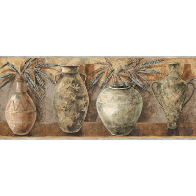 8.75 in. x 15 ft. Brown Earth Tone Ethnic Vases Border