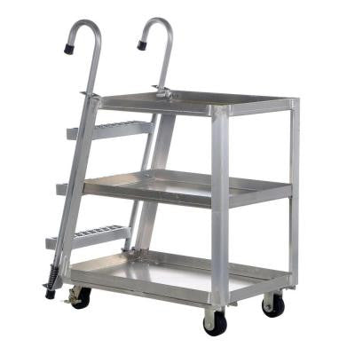 1,000 lb. 28 in. x 40 in. 3 Shelf Aluminum Stock Picker Truck