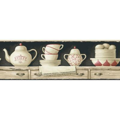 6.8 in. x 15 ft. Black and Beige China on Shelf Border