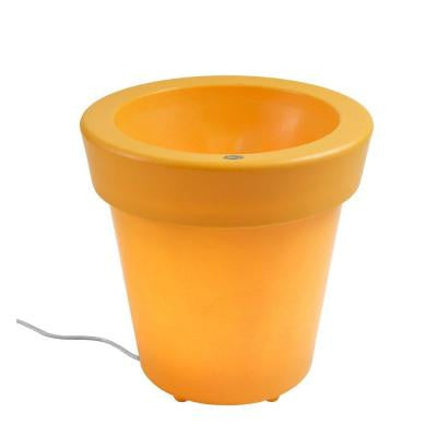 Twist Production 20 in. Yellow Outdoor Lighted Planter