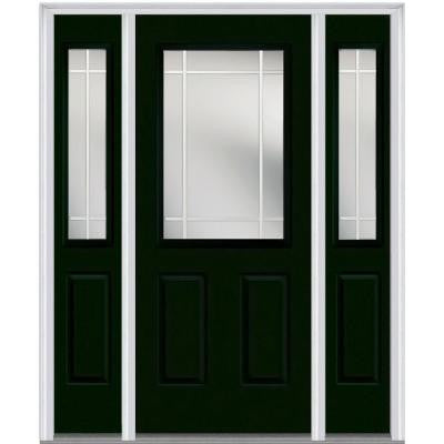 64 in. x 80 in. Classic Clear Glass PIM 1/2 Lite Painted Majestic Steel Prehung Front Door with Sidelites