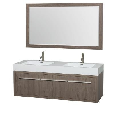 Axa 60 in. Double Vanity in Gray Oak with Acrylic Resin Vanity Top in White, Integrated Sinks and 58 in. Mirror