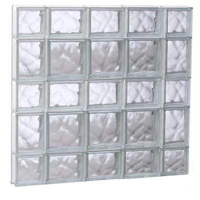 34.75 in. x 32.75 in. x 3.125 in. Non-Vented Wave Pattern Glass Block Window