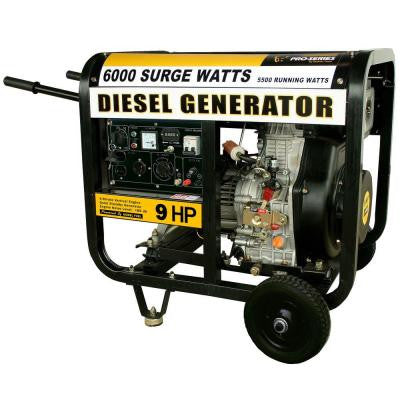 6,000 - 5,500-Watt Diesel Electric Start Generator with Voltage Selector Switch