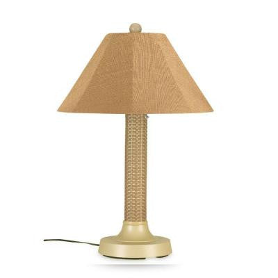 Bahama Weave 34 in. Mojavi Outdoor Table Lamp with Straw Linen Shade