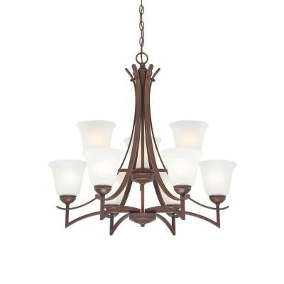 9-Light Rubbed Bronze Chandelier with Light India Scavo Glass