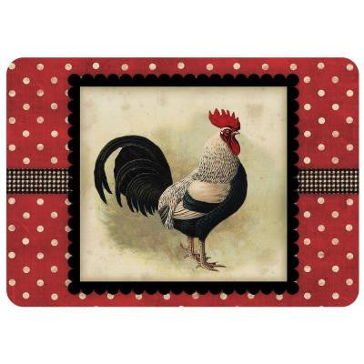 Polk-A-Dot Black Speckled Rooster 22 in. x 31 in. Polyester Surface Mat
