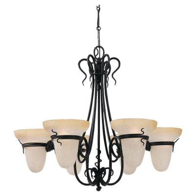 Saranac Lake 6-Light Forged Iron 1-Tier Chandelier