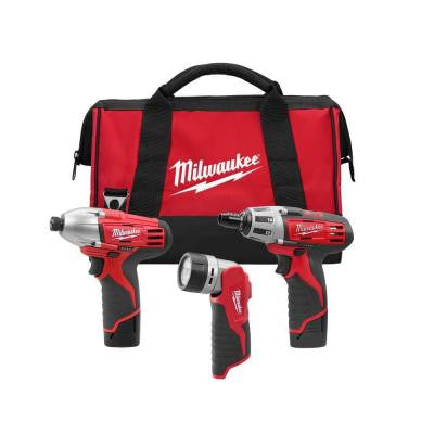 Reconditioned M12 12-Volt Lithium-Ion Cordless Screwdriver/ Impact/Light Combo Kit (3-Tool)