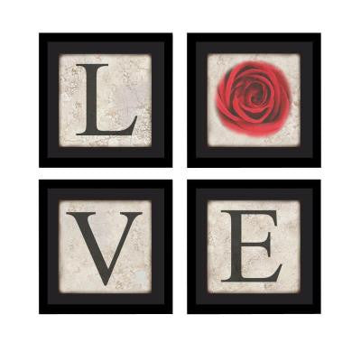 "Four 10 in. x 10 in. ""Love"" by Neeva Kedem Framed Printed Wall Art"