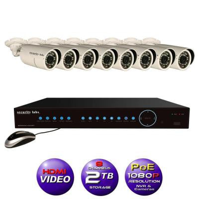 8CH High Definition 1080P IP POE-NVR Surveillance System with 2TB Hard Drive, 8 Weatherproof Bullet Cameras and Apps