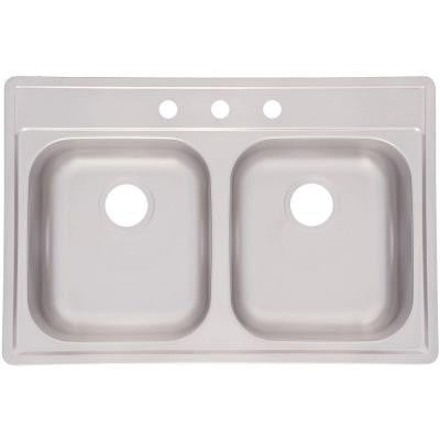 Top Mount Stainless Steel 33x22x8 3-Hole Double Bowl Kitchen Sink