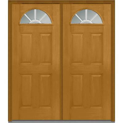 64 in. x 80 in. Classic Clear Glass GBG 1/4 Lite Finished Mahogany Fiberglass Double Prehung Front Door