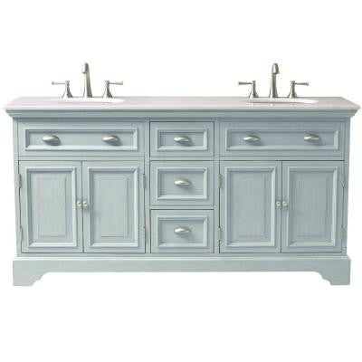Sadie 67 in. Double Vanity in Antique Blue with Marble Vanity Top in White