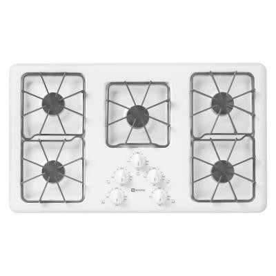36 in. Gas Cooktop in White with 5 Burners including Power Cook Burners