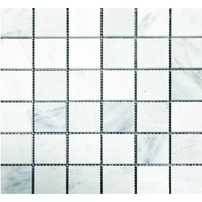 Greecian White 12 in. x 12 in. x 10 mm Honed Marble Mesh-Mounted Mosaic Tile