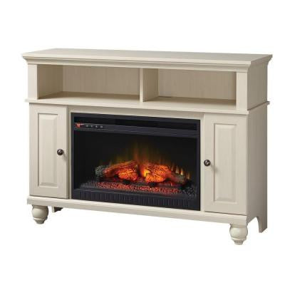 Ashurst 46 in. Media Console Infrared Electric Fireplace in Washed Linen Finish