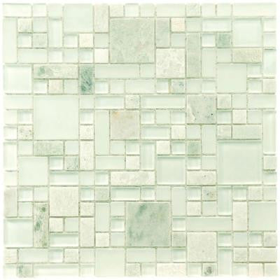 Tessera Versailles Ming 11-3/4 in. x 11-3/4 in. x 8 mm Glass and Stone Mosaic Wall Tile