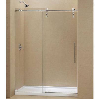 Enigma-Z 60 in. x 78-3/4 in. Sliding Shower Door in Brushed Stainless Steel with Center Drain Base